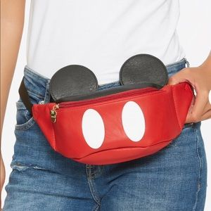Loungefly Disney Mickey Mouse Suit Ears Faux Leather Travel Fanny Pack Bum Bag